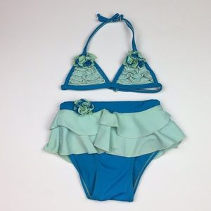 Old Navy Bikini Teal Aqua Floral Ruffle Two Piece
